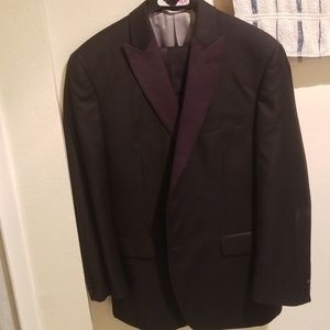 Black and dark red tuxedo Jacket and Pants